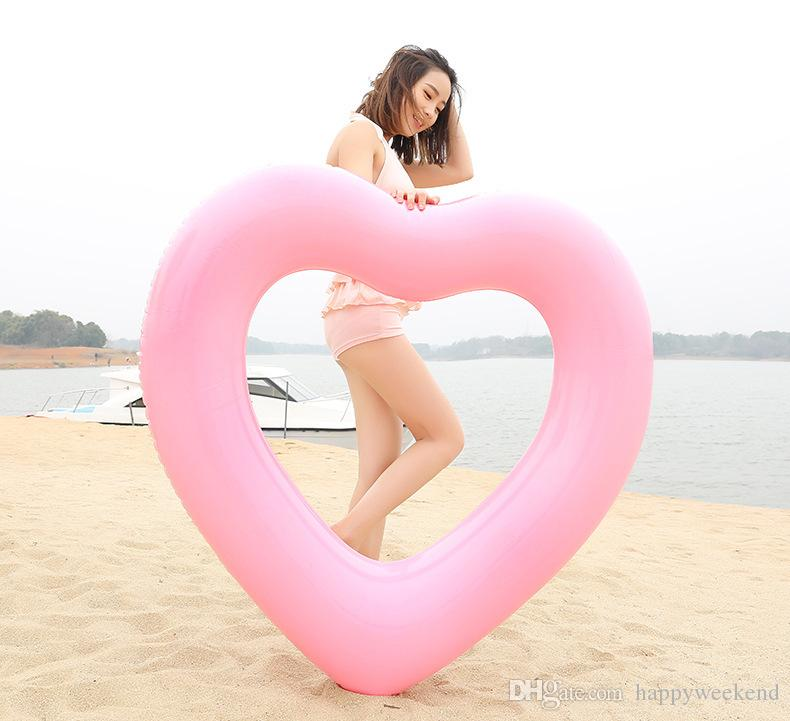 2018 Lovely Pool Inflatable Toys 90/100CM Ring Heart Shape Pool Float Swimming Ring Toys Pool Float Buoy Heart For Adult Kids