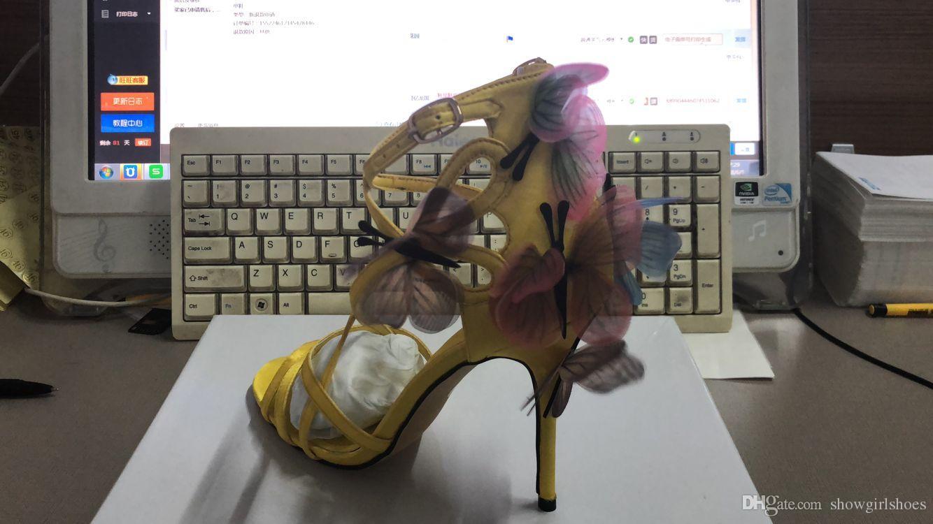 2018 여성 섹시한 검투사 샌들 발목 스트랩 나비 하이힐 발가락 샌들 옐로우 컬러 펌프 웨딩 신발 결혼 신부의 열기