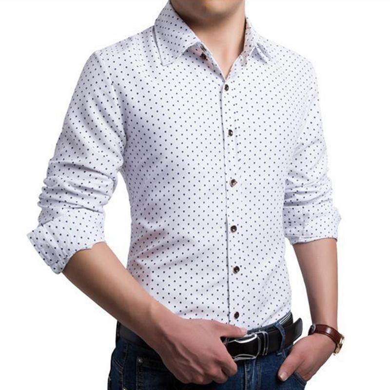 7fac7e0c5d 2019 NIBESSER Men Long Sleeve Shirt Vintage Mens Clothing Fashion Dot Print Dress  Shirts Casual Turndown. Indigo Gitman ...