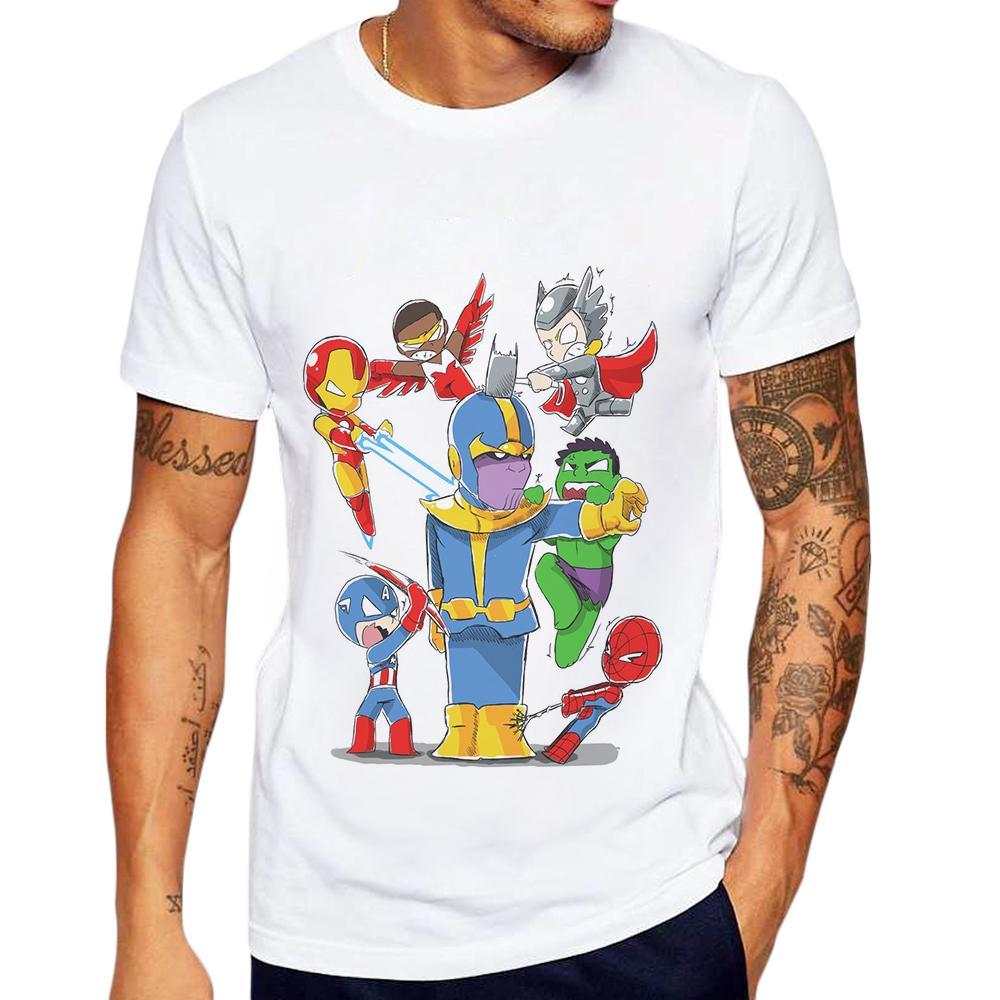 cf6ee673249 Funny Anime T Shirt Men Thanos Cartoon Design Man T Shirt Cotton Short  Sleeve Streetwear Tops Tee Shirts Sale Clever Tee Shirts Now T Shirts From  Tielian