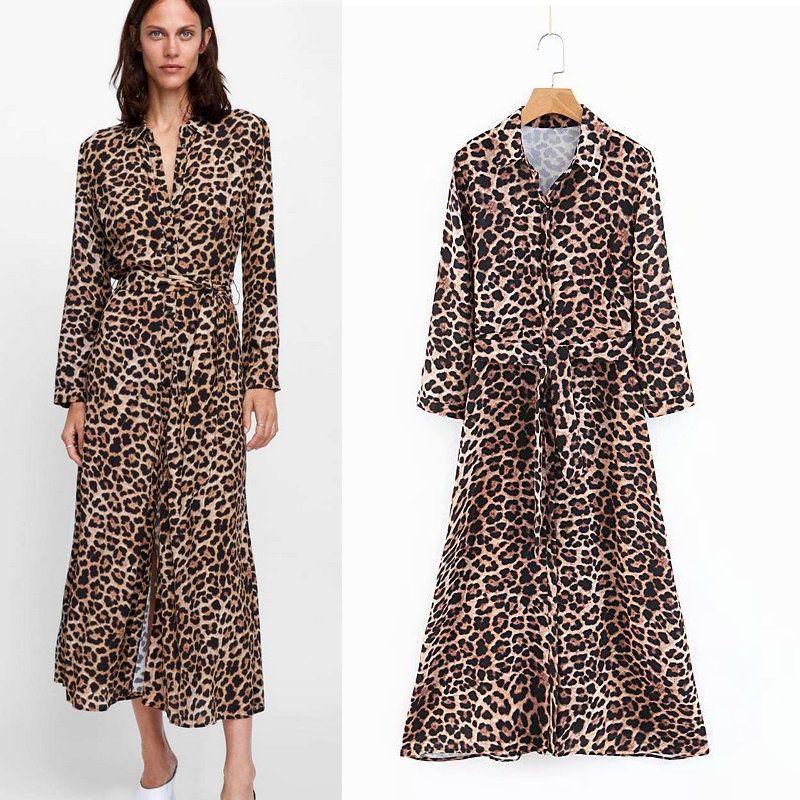 a9d704b9e103 2019 2018 Autumn New Women Leopard Print Maxi Dress Bow Tie Sashes Long  Sleeve Retro Ladies Casual Chic Long Female Dresses Vestidos From  Hongxigua, ...