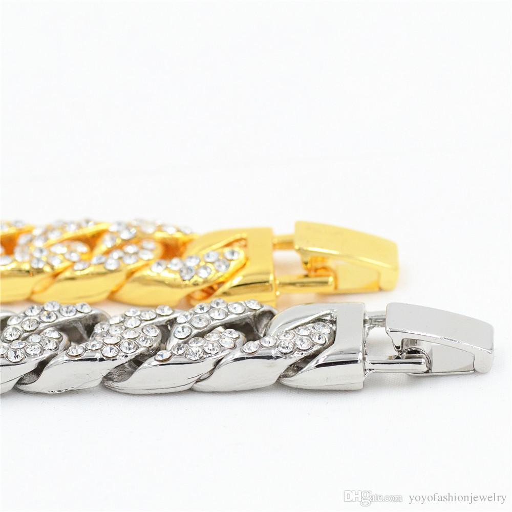 Uodesign 14 мм Мужской Браслет для Женщин Ювелирные Изделия Хип-Хоп Iced Out Снаряженная Кубинская Цепочка Желтое Золото Заполненные Мощеные Стразы