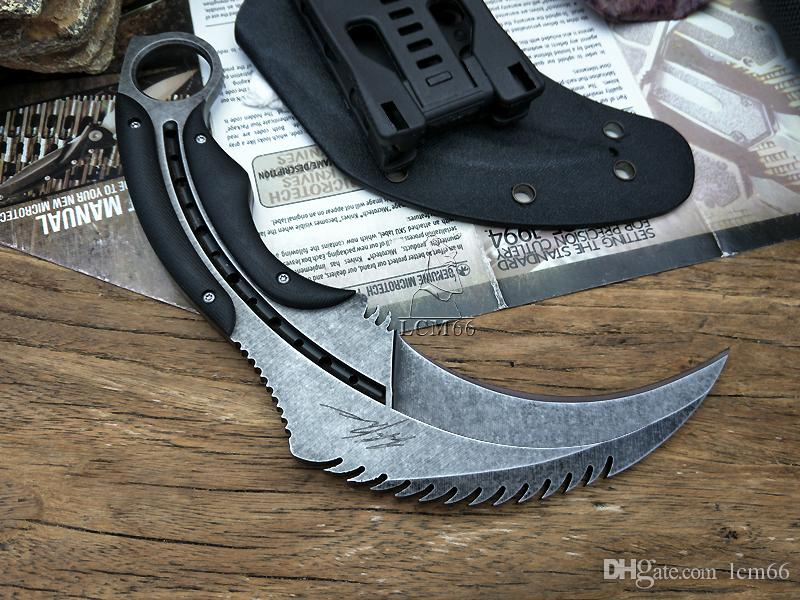 LCM66 karambit Mirror light scorpion claw knife outdoor camping jungle survival battle Fixed blade hunting knives self defense