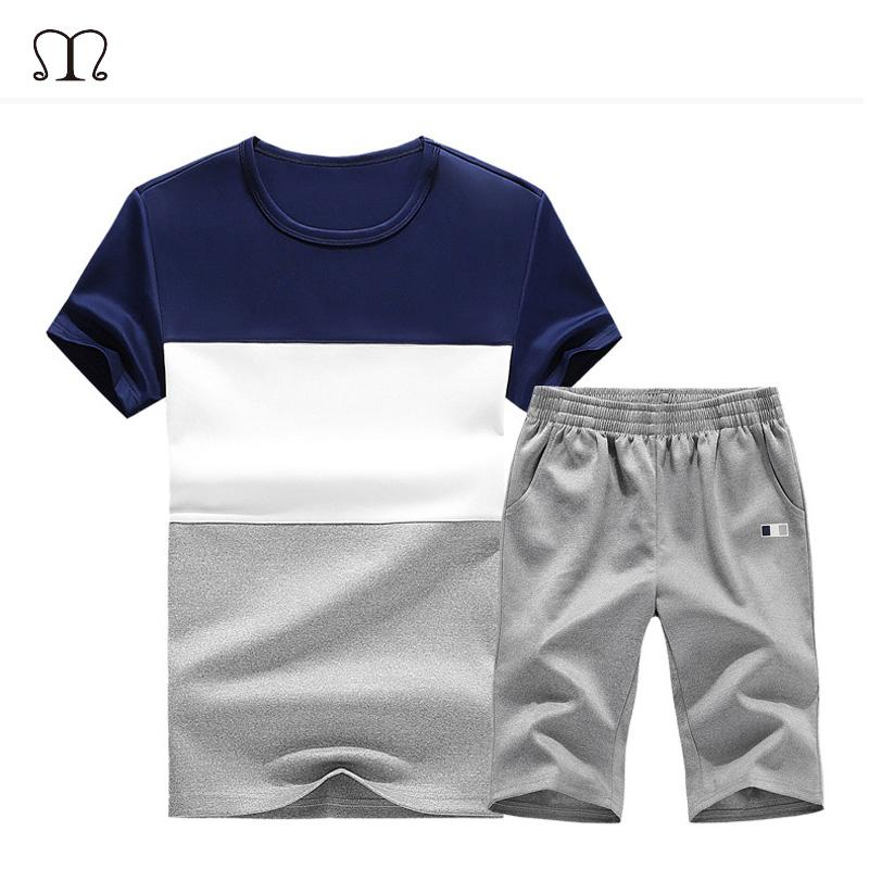 Summer Tracksuit Men Short Sleeve Patchwork Sportswear Casual Suit Men Clothing 2 Piece Shorts Set Tshirt +Shorts Sporting Suit