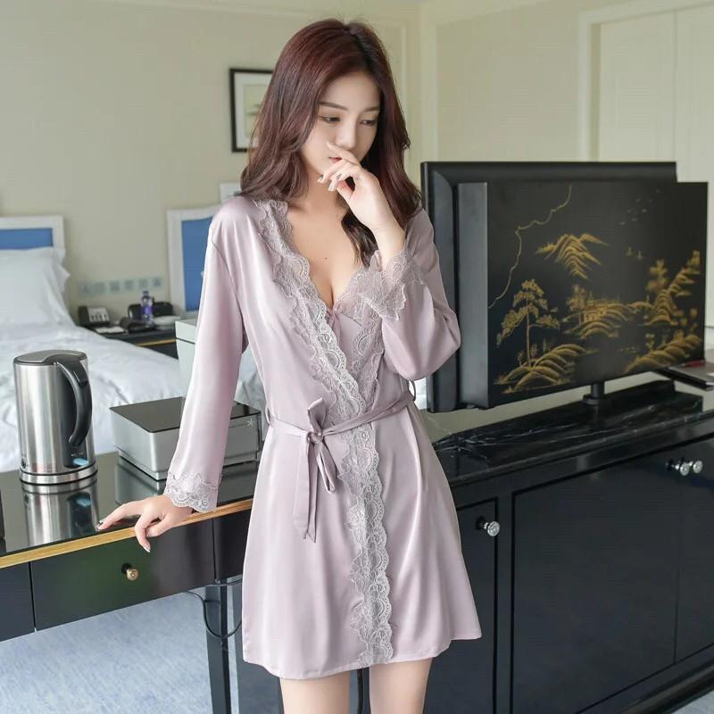2019 2018 Sexy Women Long Sleeve Pajama Sets Spagetti Straps Sleepwear  Dress Two Pieces Nightdress Bathrobe Lace V Neck Robe Sets From Baimu e315042853c9