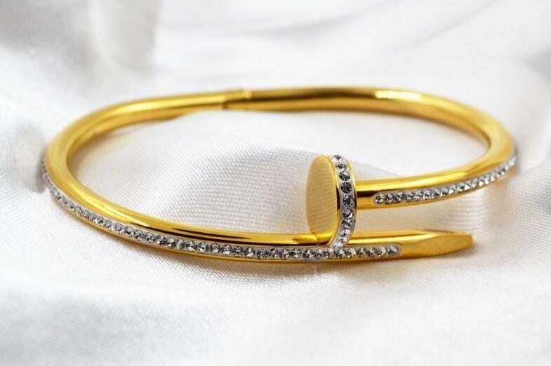 New nail clay couple diamond bracelet rose gold bracelet European and American version of quality titanium steel bracelet