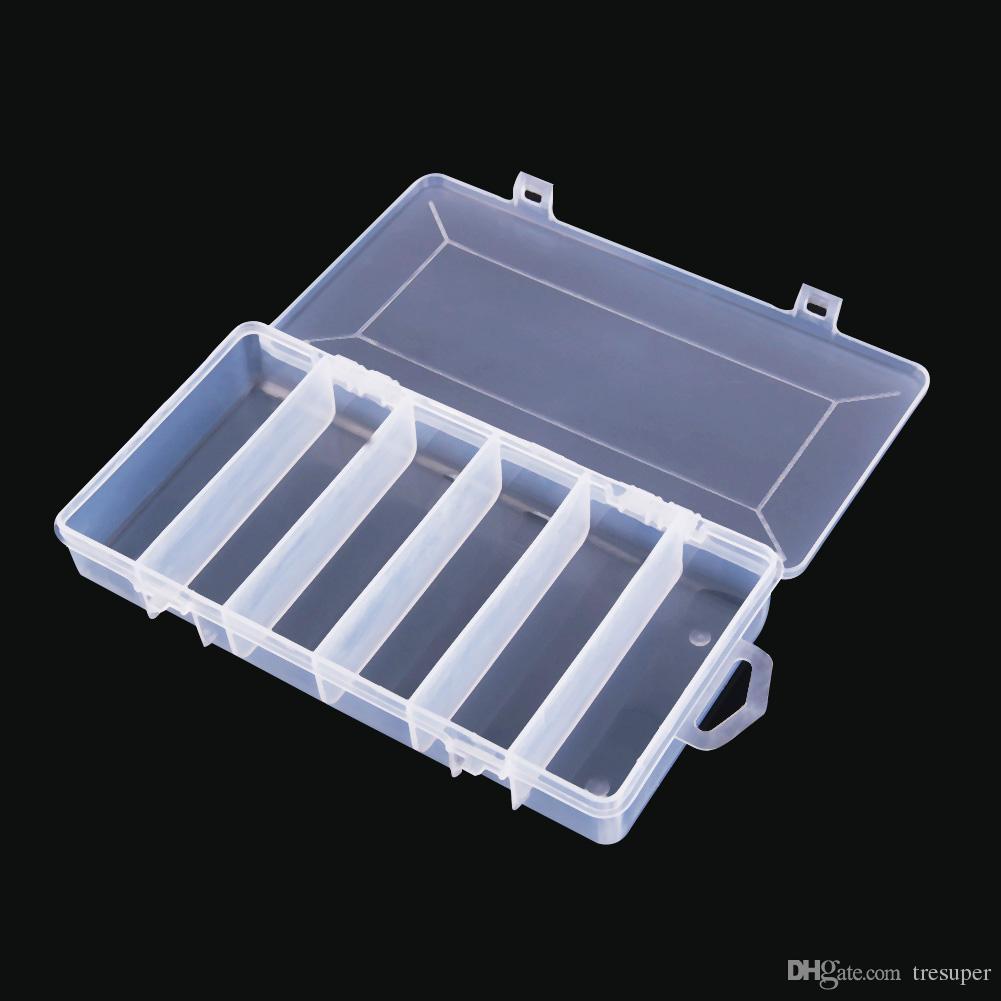 Plastik 5 Fächer Angelzubehör Box Fisch Köder Haken Köder Aufbewahrungstasche #J