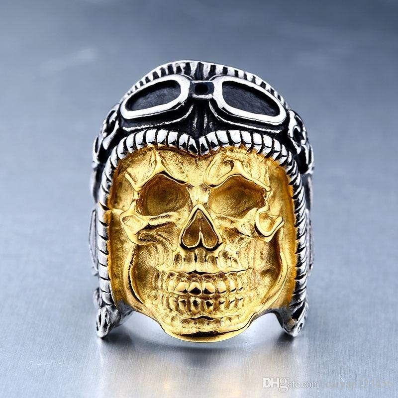 326f500857 Men Jewelry New Stainless Steel Punk Gothic Skull Halloween Ring ...