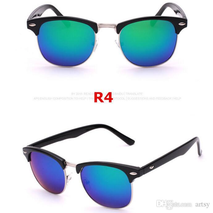 Fashion Unisex Women's Men's Colored Glass Lens Mirror Sunglasses Man Woman Half Frame Trendy Mirrored Sunglasses