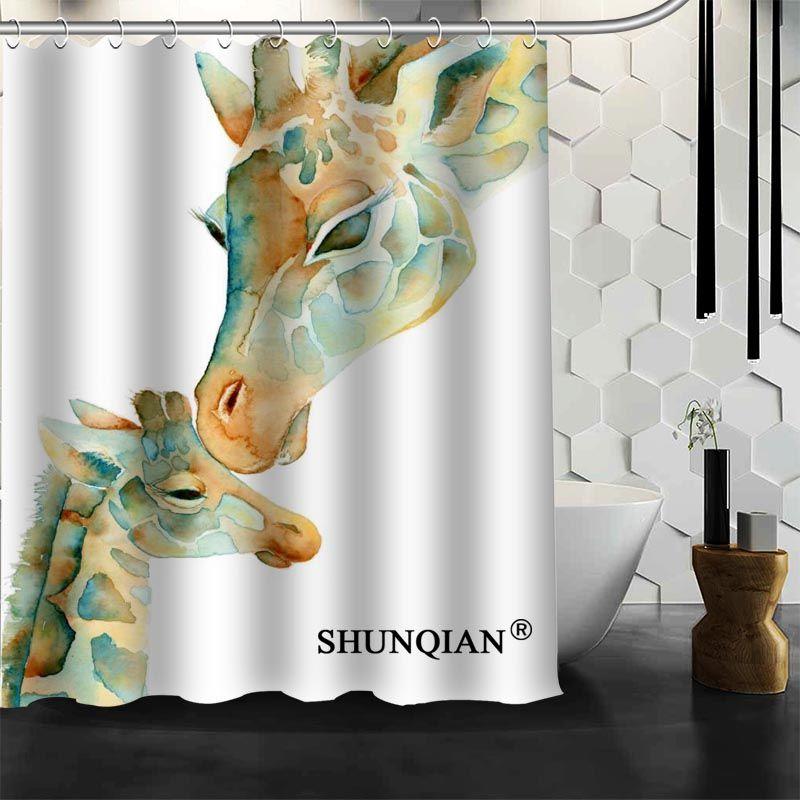 2018 Waterproof Bathroom Curtains Modern Giraffe Shower Curtain Polyester  Bath Screens Customized Curtain From Sophine11, $51.8 | Dhgate.Com