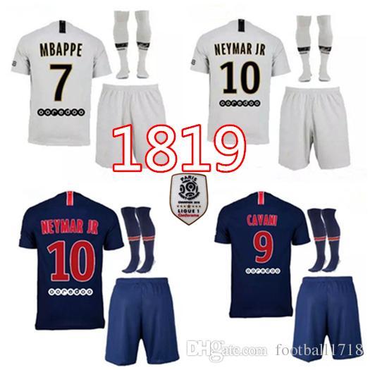 21ce272b5 CAVANI DI MARIA PASTORE Verratti MBAPPE Soccer Jersey Kits 2018 2019 DANI  ALVES Football Shirt JR Soccer Uniform Kit Online with  22.36 Set on ...