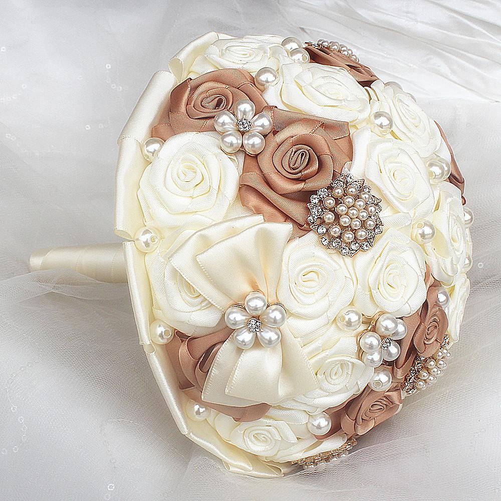 Factory Handmade Satin Ribbon Hand Holding Flowers Wedding Bouquet Pearl Decoration Bowknot Bridal Bridemaid Wedding Bouquet W178