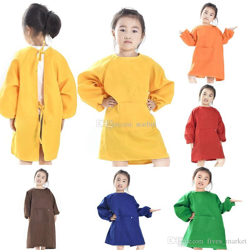 Satın Al çocuk önlükleri önlük çocuklar Boyama Giysi Su Geçirmez