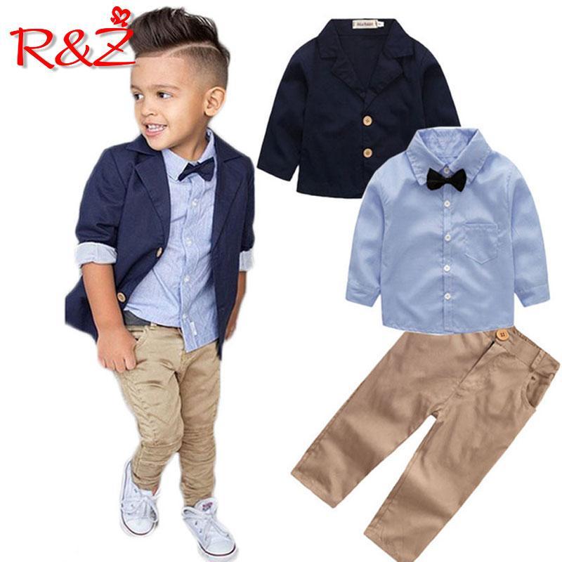 59ef2a753c00f Compre RZ 2018 Ropa Para Niños Traje De Caballero Chaqueta De Camisa  Pantalones 3 Piezas De Arco Para Niños Blazer Para Niños Tops A  25.53 Del  Hanlley ...