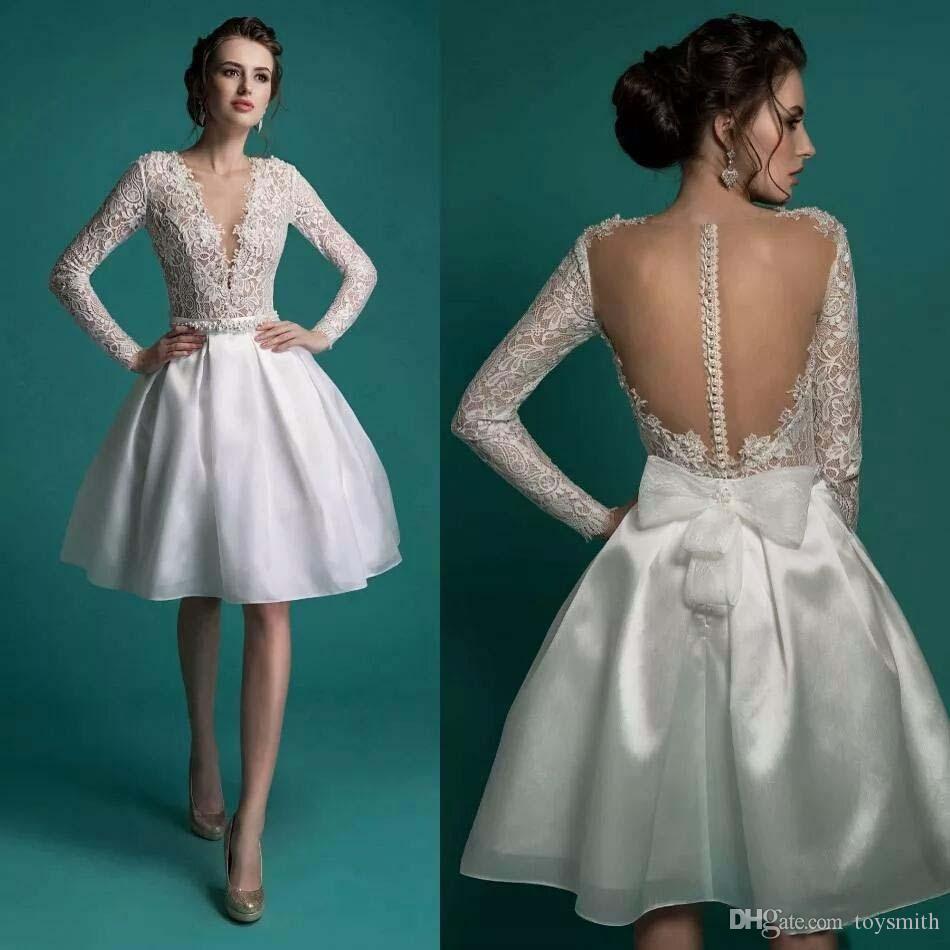 2018 Satin Deep V Neck Bow 1950\'S Style Short Wedding Dresses ...