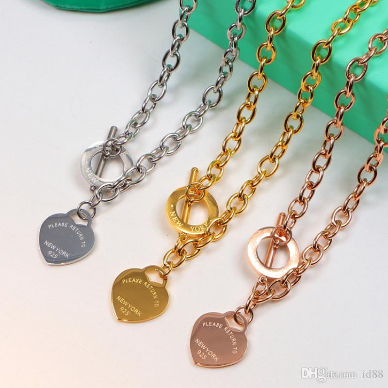 Luxury Jewelry 925 Silver Rose Gold Yellow gold plated Heart Pendant Chain Necklace with Original box for Women Wedding Necklace