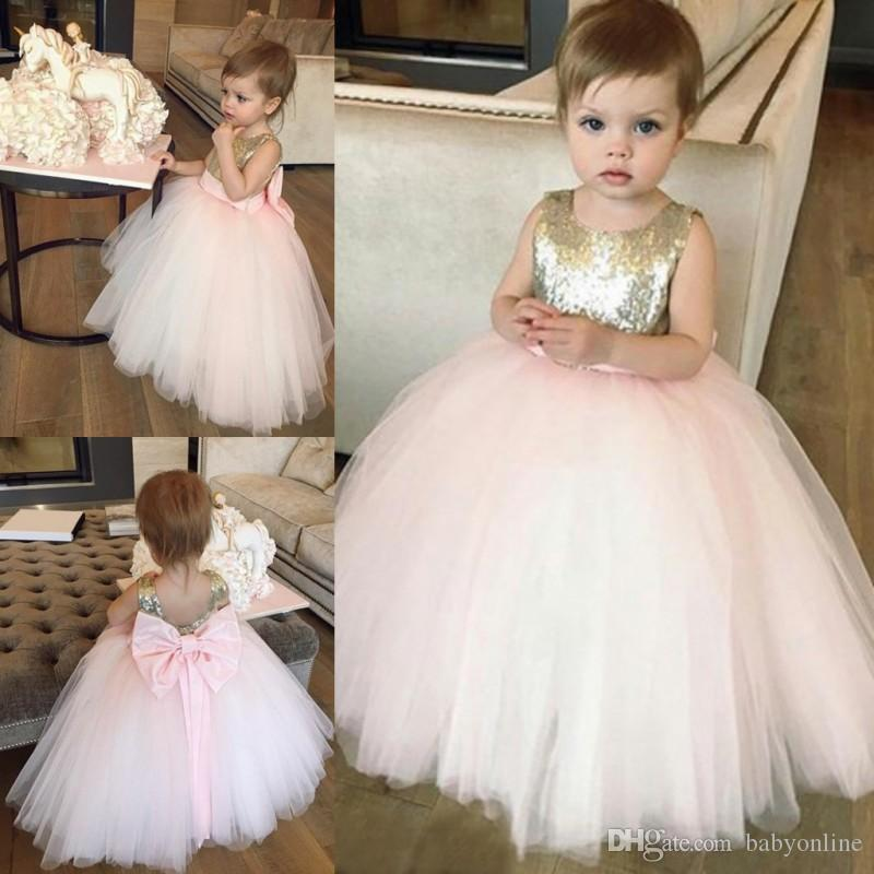 0c2f96f2a67 Blush Pink With Gold Sequins Little Kids Toddler Flower Girl Dresses  Princess A Line Crew Neck Girls Pageants Gowns Big Bow Sash Back Bridesmaid  Dresses For ...
