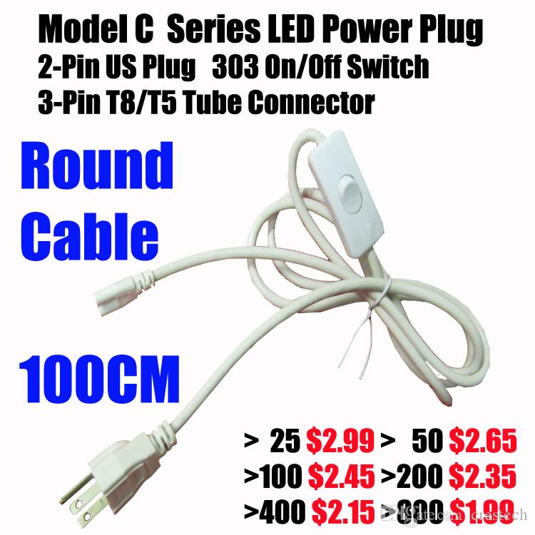 4ft US Plug 3 Prong AC Power Cord Cable 6ft Double End Connector Cable for T5 T8 LED Integrated LED Tube Power Cord