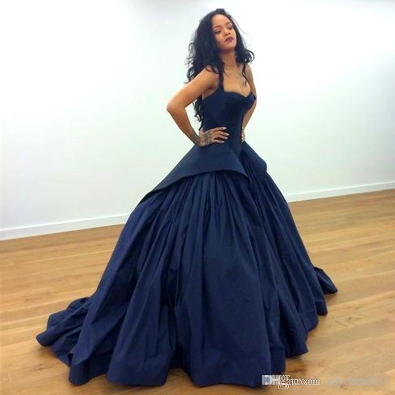 48b50c3a9fc Dark Blue Puffy Ball Gown Quinceanera Dresses Spaghetti Straps Sweetheart  Satin Elegant Princess Sweet 16 Prom Dresses Evening Party Gowns Best  Quinceanera ...