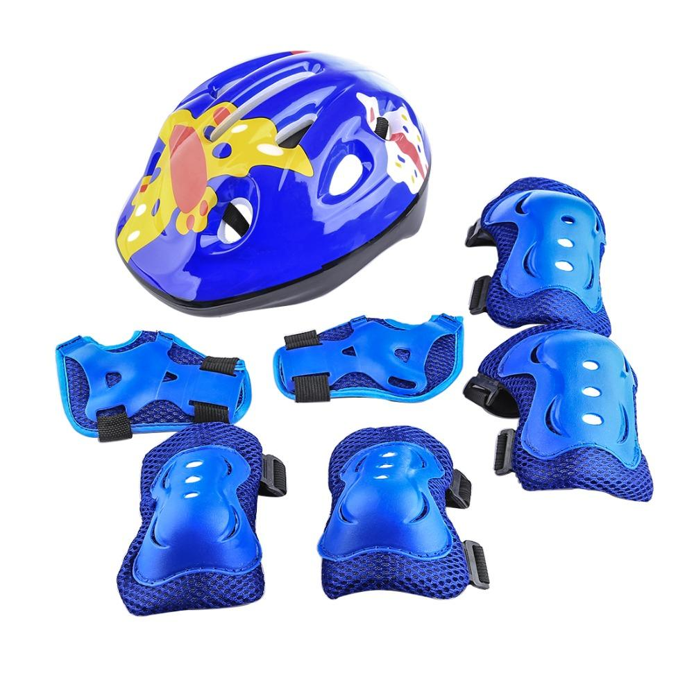 iguardor Bicycle Helmet 7Pcs Set Sport Safety Protective Gear Elbow Wrist Knee Pads and Helmet Guard for Kids Skateboard Riding