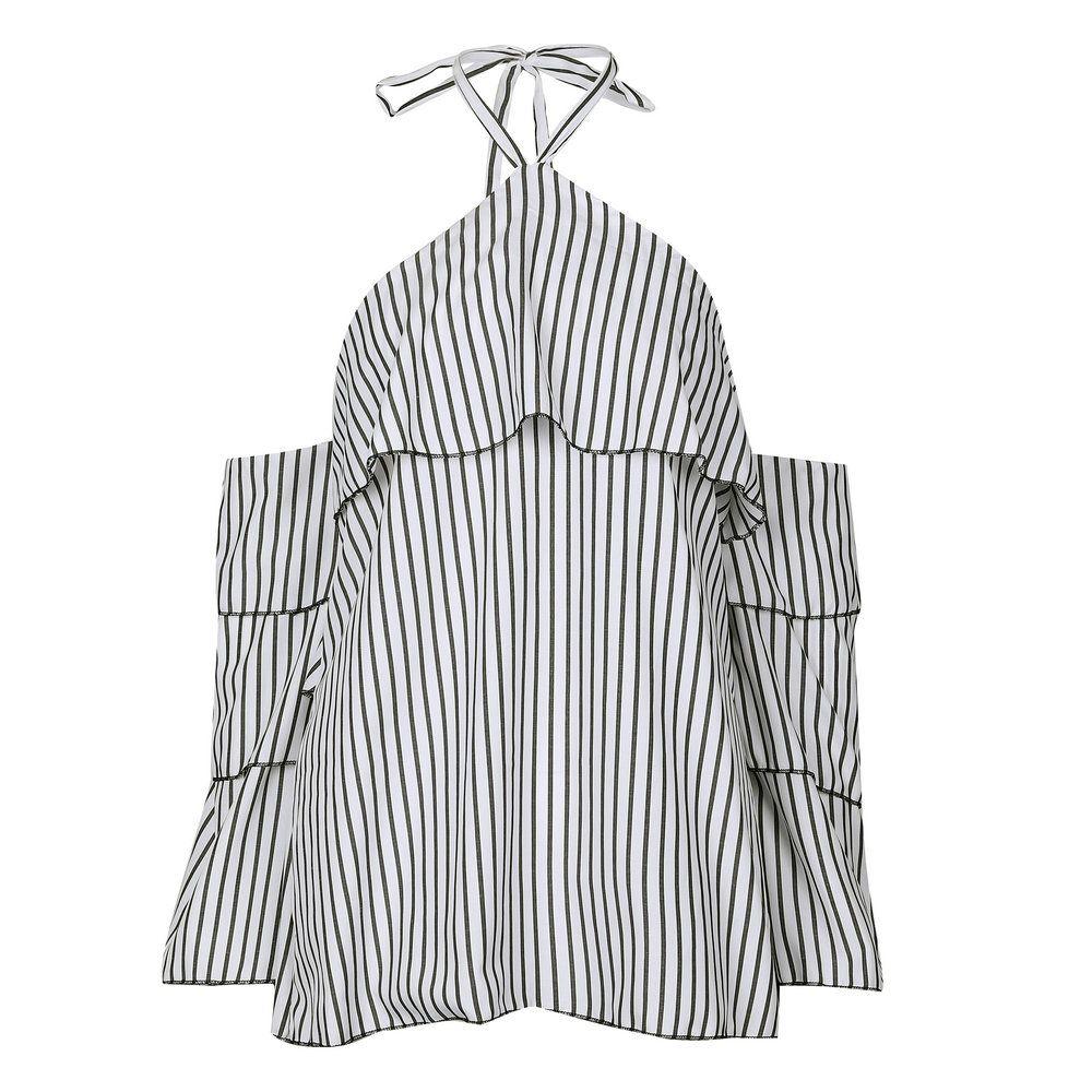 Gestreifte Halfter Rüschen Blusas Frauen Bluse Ärmel Sexy kalte Schulter rückenfreies Hemd Feminina Beach Holiday Top camisa feminina