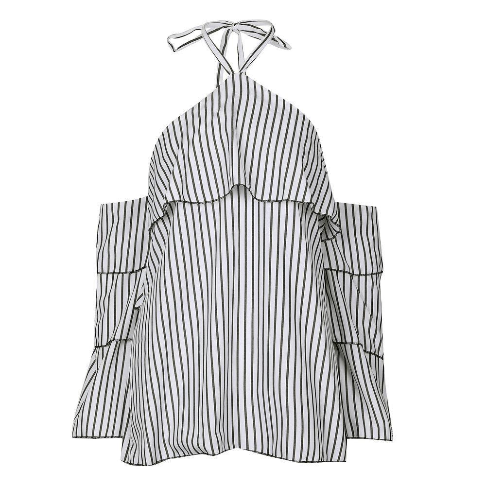 Rayas Halter Ruffle Blusas Mujeres Blusa Manga Sexy Hombro Frío Sin Espalda Camisa Feminina Beach Holiday Top camisa feminina