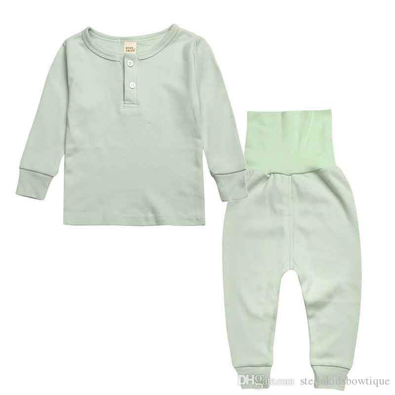 Cotton Kids Sleepwear Clothes Long Sleeve Top High Waist Pant Children Pajamas Set Plain Kids Pajamas Home Wear Kids Cloth