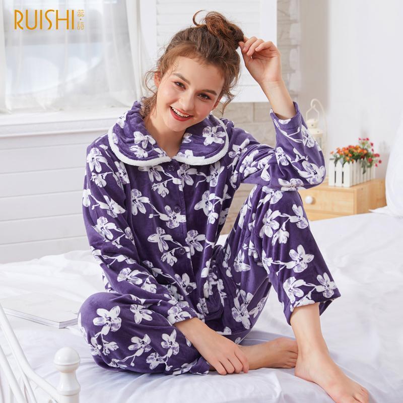 b5a8f5a5e8 Compre JQ Nuevo Invierno Pijamas Mujeres Puntadas Pijamas Pijama Mujer  Pijamas Calientes Pigiama Donna Femme Mujeres Ropa De Dormir Invierno  Espesar Pizama ...