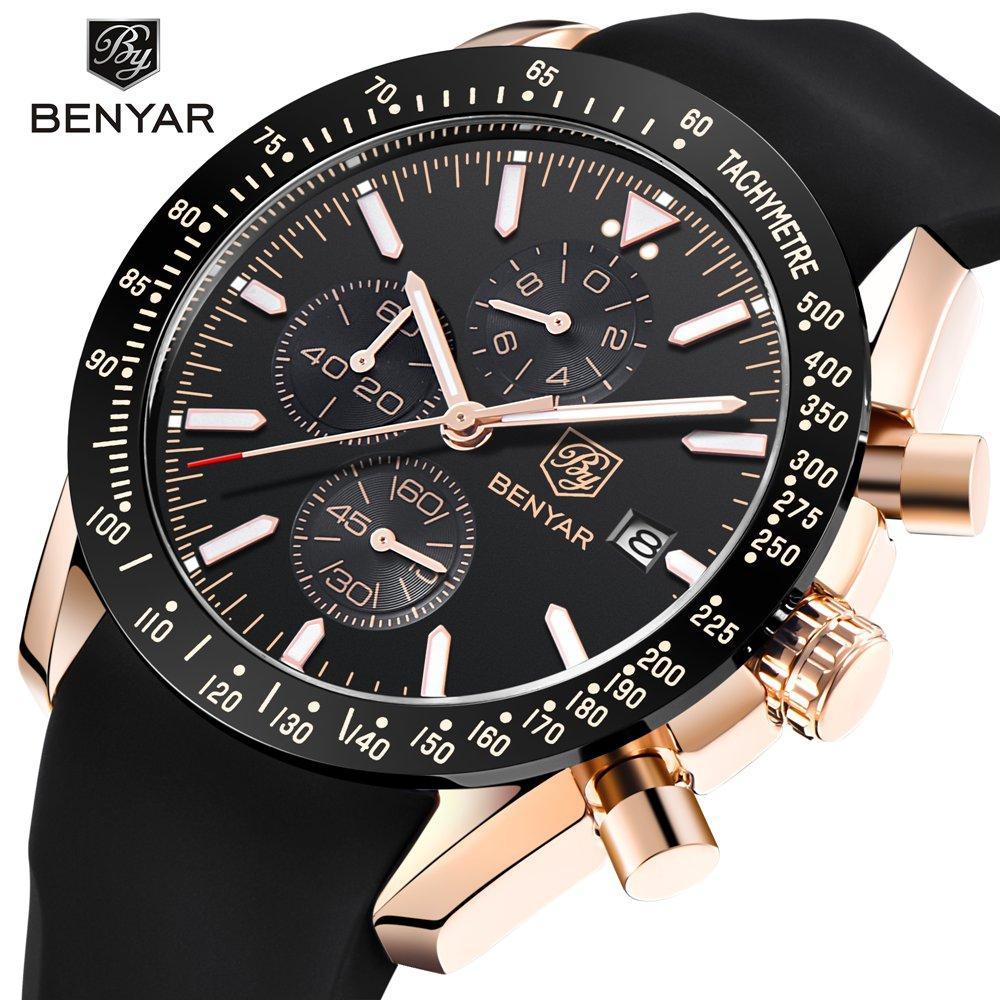 12ab4be685b Compre Relógios De Cronógrafo De Silicone Homens Benyar Top Marca De Luxo  Esporte Relógio De Pulso Dos Homens Relógio De Quart Relógio Masculino  Relogio ...