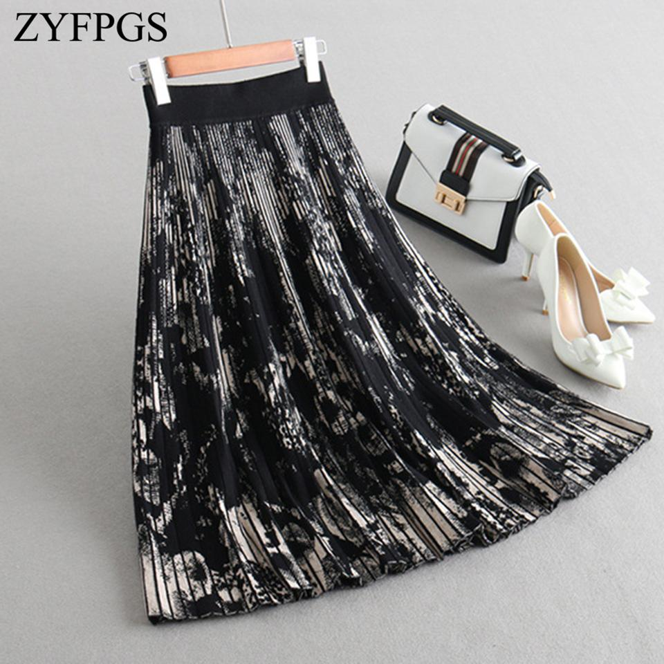 ZYFPGS 2018 Skirts Womens Knit Autumn Warm Floral Print Chinese Ink Painting Long Skirt Black Graffiti Fashion S M L Sale Z1102 C18111301