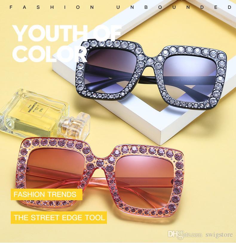 8 Grand Design Populaires Vogue Lunettes Soleil Luxe Couleurs Cadre Jambes Carré Petites De Protection Marque Diamants n0PwO8k