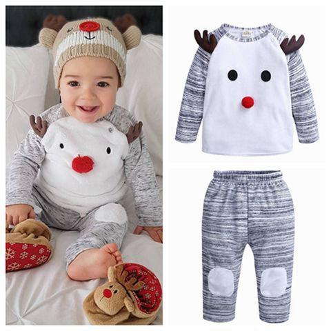 2018 Fall Winter Kids Christmas Clothes Childrens Boutique Clothing Sets  Baby Girl Outfits Toddler Boys Reindeer Tops Pants Infant Grey Newborn Baby  Boy ... - 2018 Fall Winter Kids Christmas Clothes Childrens Boutique Clothing