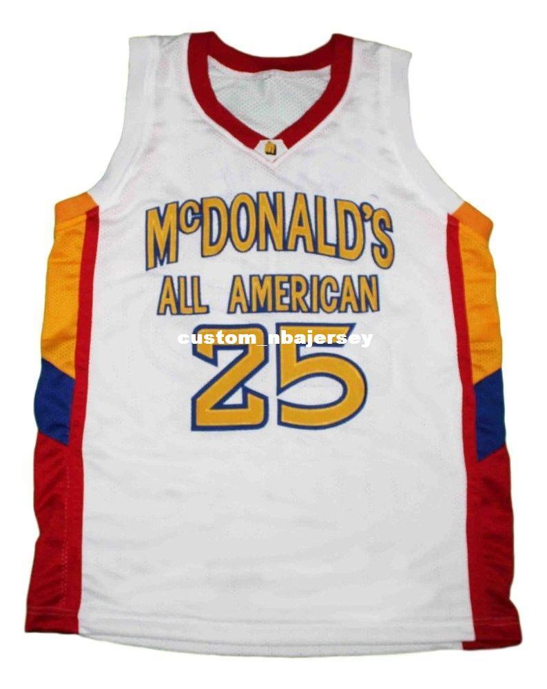best sneakers a520a 67102 wholesale Derrick Rose #25 McDonalds All American Basketball Jersey White  Stitched Custom any number name MEN WOMEN YOUTH BASKETBALL JERSEYS