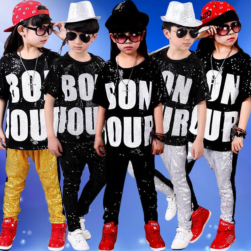 b8deb1f37e28 27 sets Sequin Children Hip Hop Dance Costumes Kindergarten Kids Boys Girls  Stage Performance Jazz Pop Dance Wear Clothes