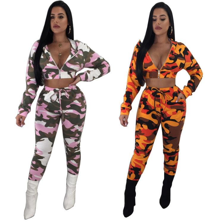 df0809023fd90 2019 Camouflage Set Women 2018 Long Sleeve Camo Print Zipper Hooded Tops  And Pants Casual Outfits Suit Two Piece Tracksuit Plus Size From  Hengytrade