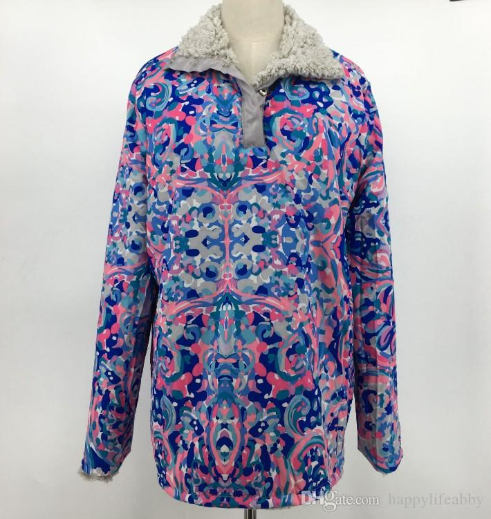 84ed43feacf 2019 Reversible Fleece Sherpa Pullover Lilly Pulitzer Sherpa Jackets Winter  Warmer Long Sleeve Pockets Button Floral Printed Pullover From  Happylifeabby