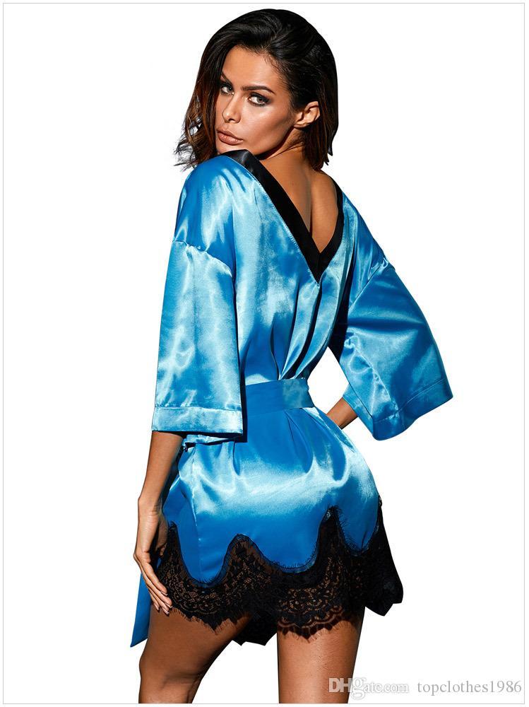 Yüksek kaliteli İmitasyon İpek Dantel kadın Seksi Pijama Sexy lingerie kadın saten Robe gecelik kırmızı mavi siyah 31097