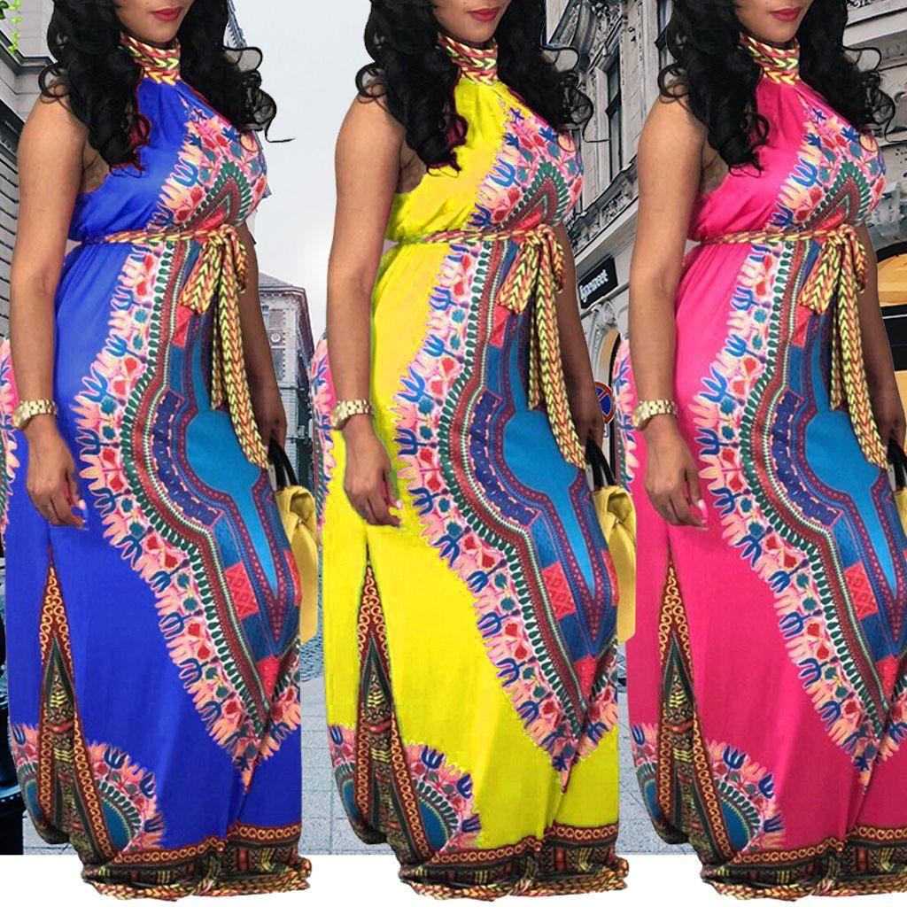 Compre Vestidos Africanos Mujeres Sin Mangas Retro Flora Imprimir Vestidos  Maxi Ropa 2018 Robe Africaine Ropa Tradicional Atractiva A  21.11 Del ... 3ed9d358b0f