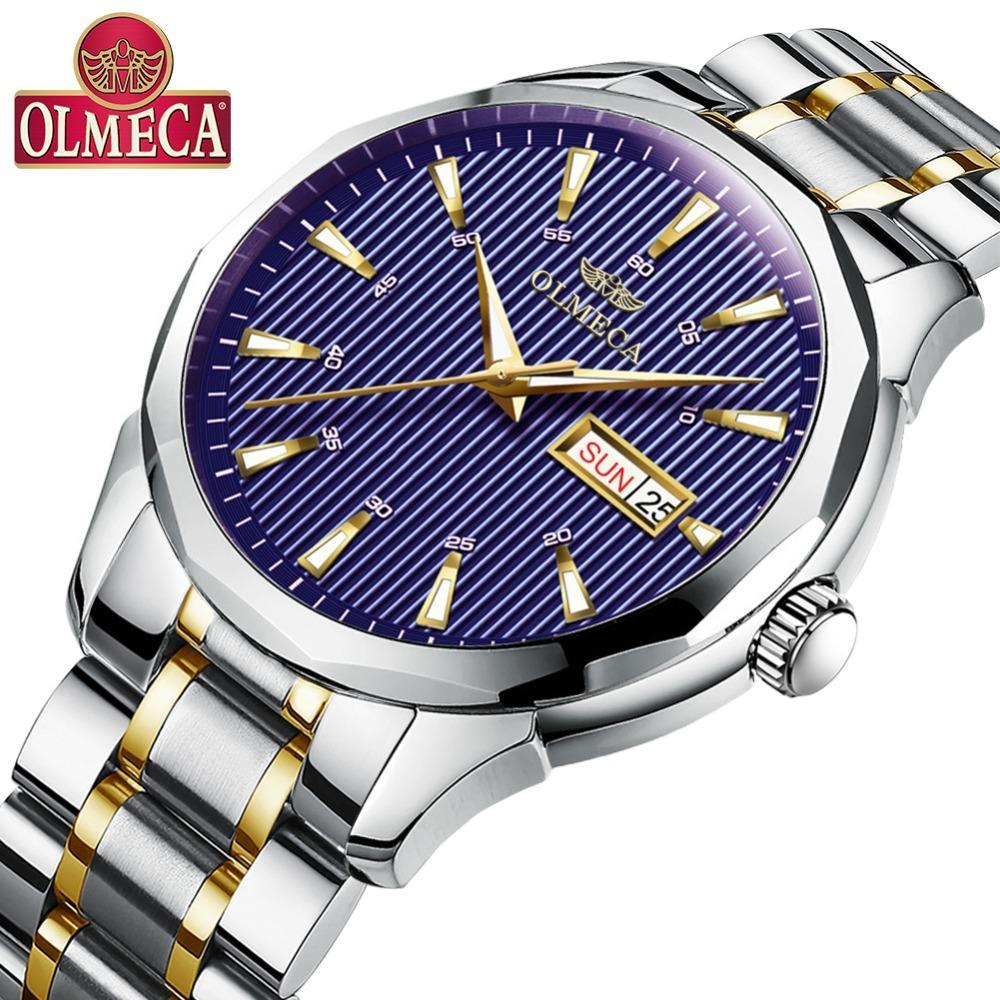 3e526cb3226 Compre OLMECA Moda Casual Marca Relógio Relogio Masculino Vestido  Calendário Relógio De Pulso À Prova D  Água Relógios De Quartzo Para Homens  De Volta Luz ...