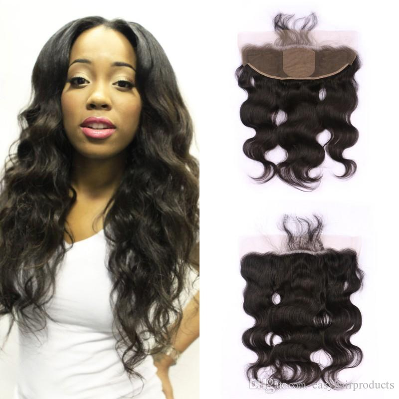 Virgin Mongolian Body Wave Silk Base Lace Frontal Closure Bleached Knots Natural Black 13*4 Lace Frontals