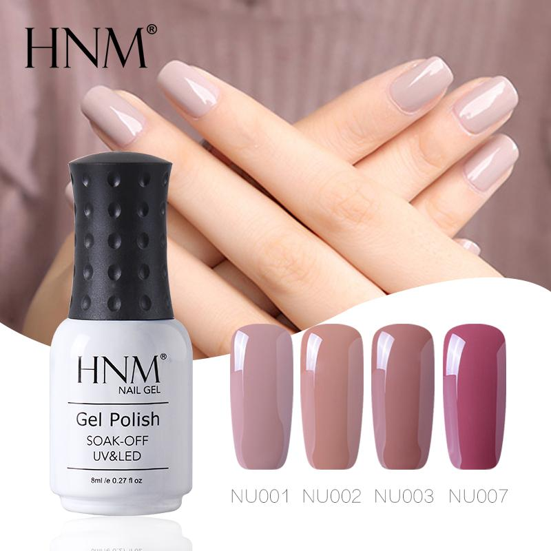 HNM Solid Nude Color 8ML UV Gel Nail Polish Top Base Semi Permanent ...