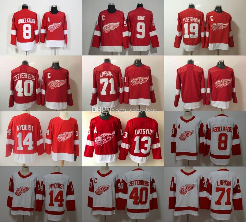 2019 2018 New Detroit Red Wings Jerseys 8 Justin Abdelkader 71 Dylan Larkin  40 Henrik Zetterberg 9 Gordie Howe 19 Steve Yzerman 13 Pavel Datsyuk From  Tobe ... 4a51c7327