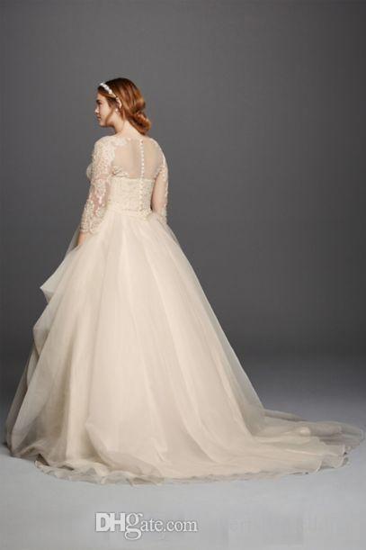 Plus Size 2017 Oleg Cassini Brautkleider 3/4 Ärmeln Spitze Sweetheart Covered Button Gloor Länge Prinzessin Mode Brautkleider