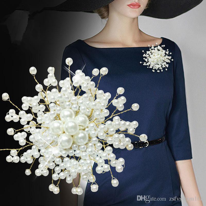 Cor sólida imitação de pérolas broche de noiva jaqueta jaqueta selvagem com acessórios de jóias no peito broche flor pinos