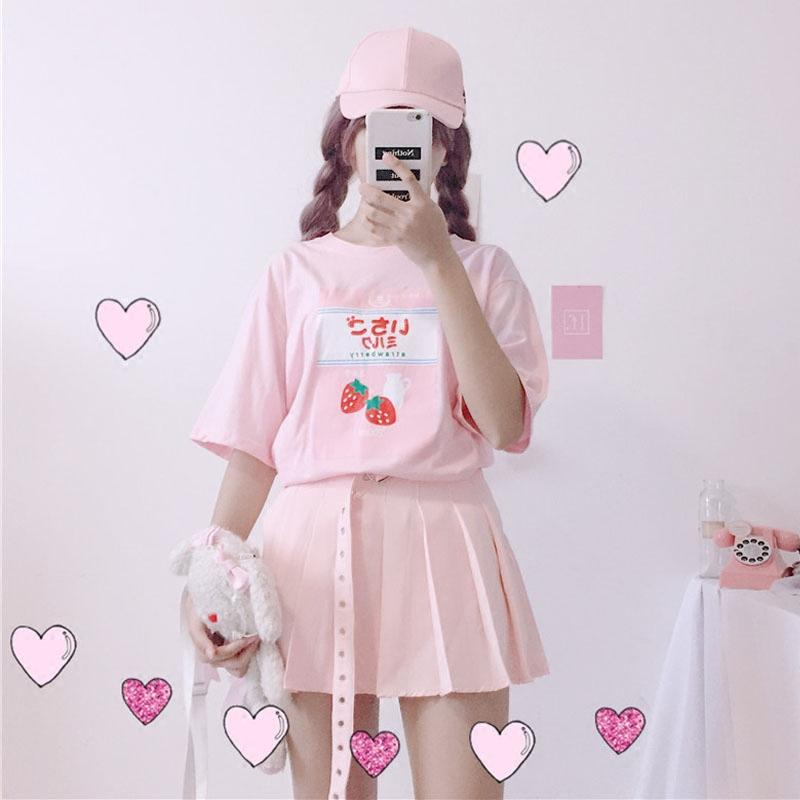 Harajuku Milk Strawberry Graphic T Shirt Summer Soft Sister Female Cute  Kawaii T Shirts Short Sleeve Teenager Girl Pink Tee Tops Latest Designer T  Shirts ... 0edc4d18d33c