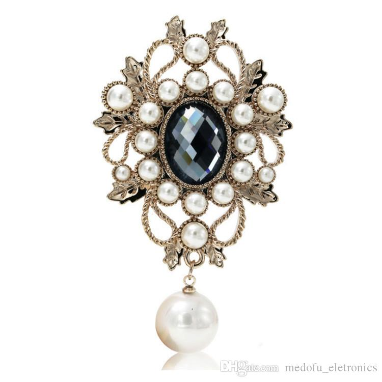 Royalty Elegant Women Brooches Luxury Gold Plated Big Blue Diamond Pearl Flower Pins Brooches Women for Wedding Party NL-649