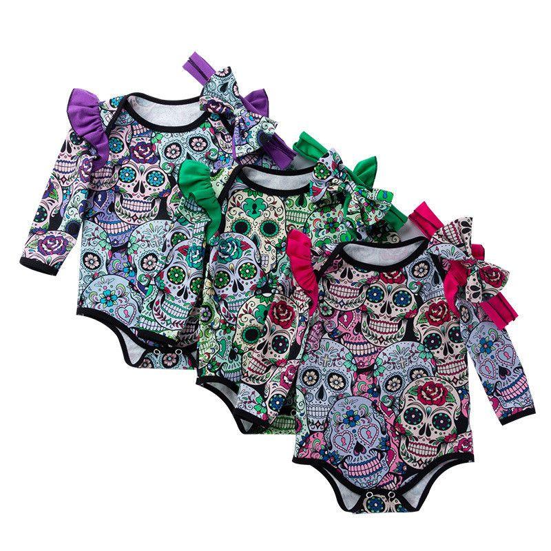 b4731237c287 2019 Halloween Baby Girls Boys Skull Print Rompers   Headband Infant ...