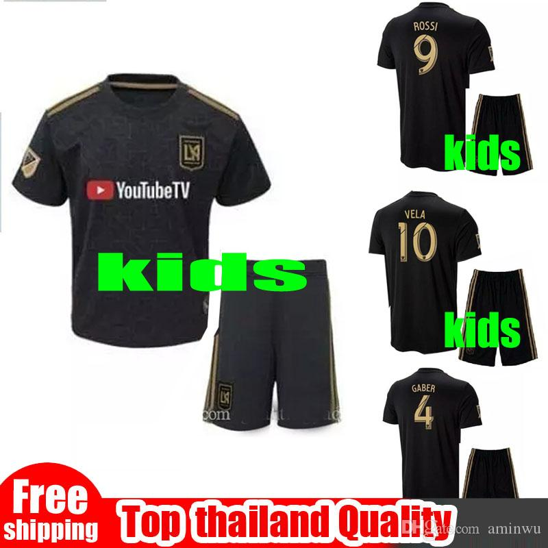 53605a1c7c7 2019 2018 LAFC Kids Soccer Jerseys Los Angeles FC 18 19 Home Carlos Vela  GABER ROSSI Black Boy 2 13 Years Old Football Soccer Set From Aminwu