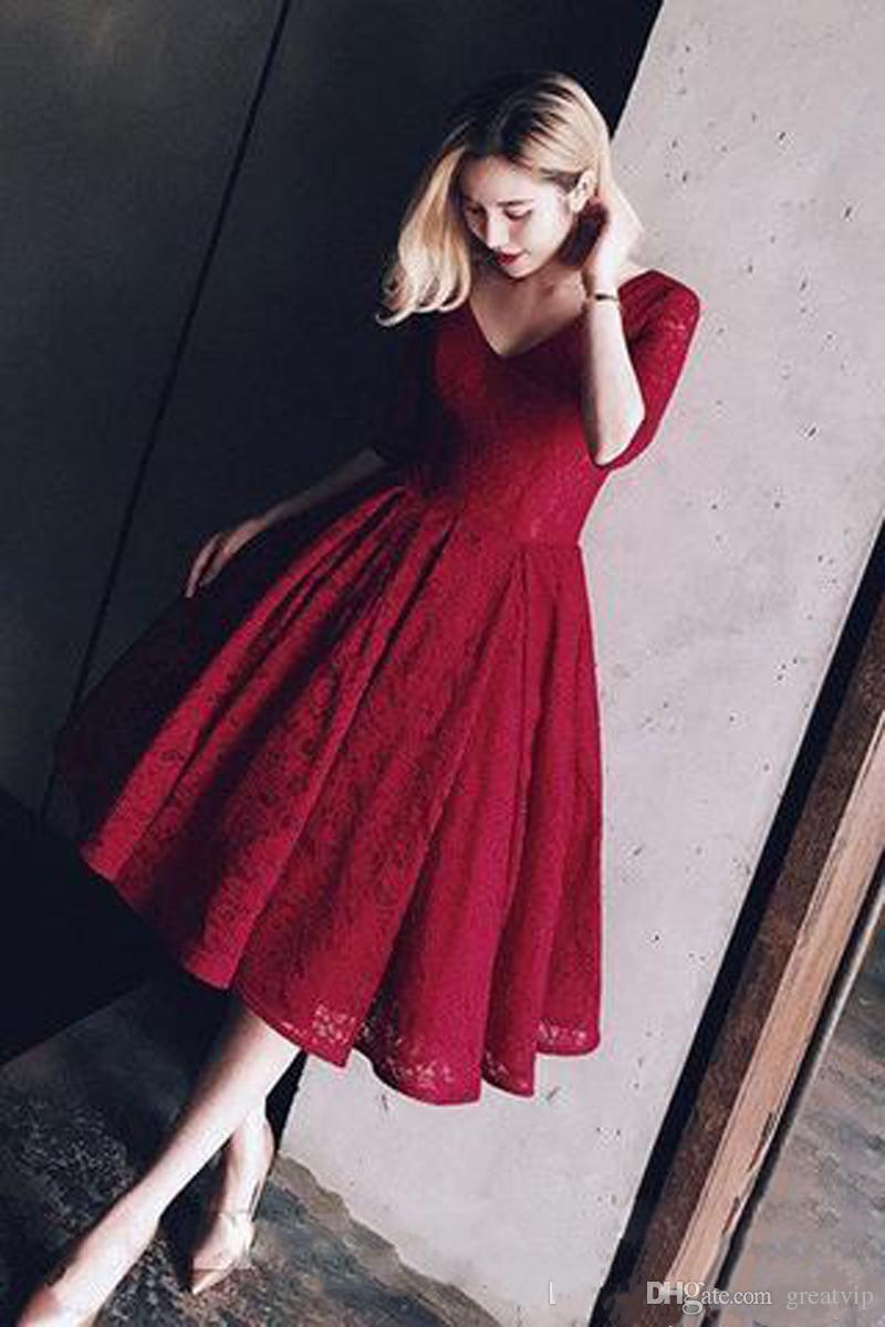 Dark Red Full Lace Short Prom Dress With Sleeves A-line Tea Length Vintage Bridal Gowns 50s Beach Prom Party Dresses 2018