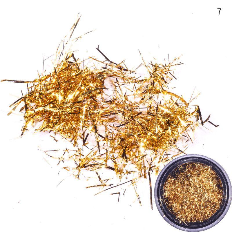 Nail Art Glitter Silk Streifen-Linien Pailletten Gold Silber Foil Nail Art Supplies Nail Makeup Maquillaje Flocken Dekoration 7 Farben